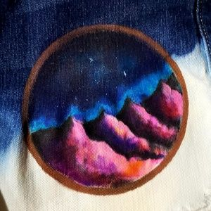 Hand painted mountain and galaxy cut offs